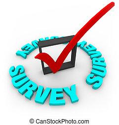 caja, encuesta, marca de verificación