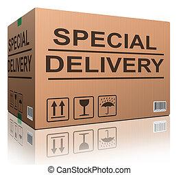 caja entrega, cartón, especial