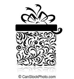 caja, estilizado, diseño, su, regalo