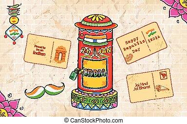 caja, estilo, india, carta, poste, kitsch