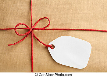 caja, etiqueta, regalo, blanco