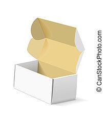 caja, fondo., embalaje, blanco