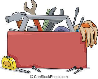 caja, herramienta, tabla, blanco