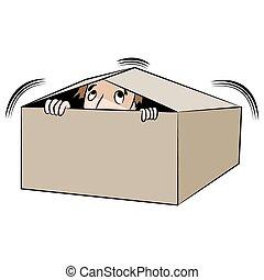 caja, hombre, caricatura, paliza
