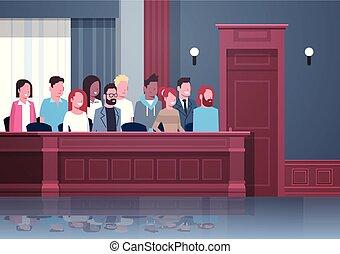 caja, interior, sentado, gente, carrera, jurado, retrato, mezcla, courtroom, tribunal, horizontal, ensayo, sesión, juzgar, moderno, proceso