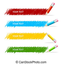 caja, lápices, vector, colorido, texto