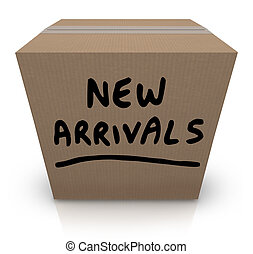 caja, llegadas, productos, nuevo, cartón, mercancía, último