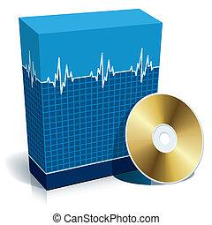 caja, médico, software