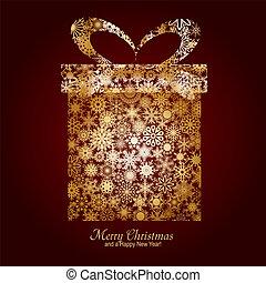 caja, marrón, hecho, alegre, oro, deseo, copos de nieve, regalo, ilustración, año, vector, plano de fondo, nuevo, tarjeta de navidad, feliz