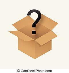 caja, misterio, icono
