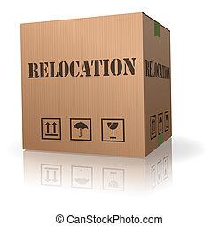 caja, mudanza, cartón, recolocación, o