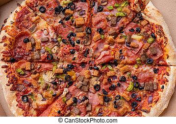 caja, pizza, cartón