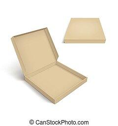 caja, plantilla, aislado, empaquetado, plano de fondo, blanco, pizza