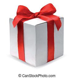 Caja presente con arco rojo. Vector