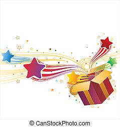 caja, regalo, estrella
