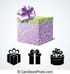 caja, regalo, iconos, algunos, aislado, blanco, presente