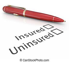 caja, riesgo, verificar, médico, asegurado, pluma, contra, cobertura, uninsured, seguro