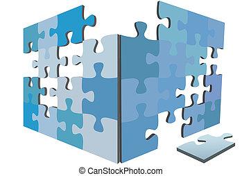 caja, rompecabezas, solución, igsaw, pedazos, pedazo, lados, 3d