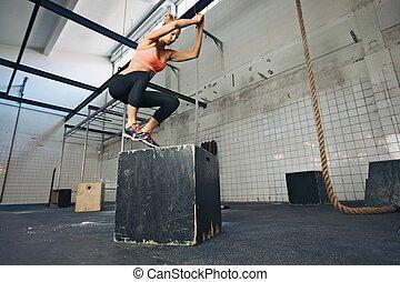caja, saltos, amaestrado, gimnasio, hembra, atleta