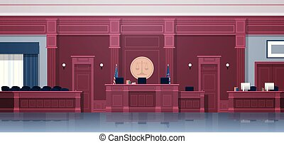 caja, secretario, vacío, interior, justicia, jurado, concepto, courtroom, horizontal, asientos, jurisprudencia, palacio de justicia, moderno, lugar de trabajo, juez