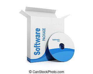 caja, software., ilustración, licenciado, disco, suave, 3d
