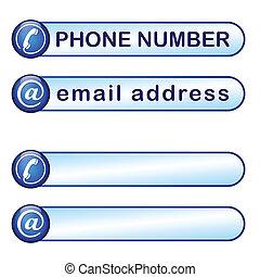caja, teléfono, dirección del correo