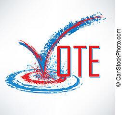 caja, texto, cheque, voto, marca