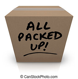 caja, todos, recolocación, arriba, mudanza, cartón, empacado