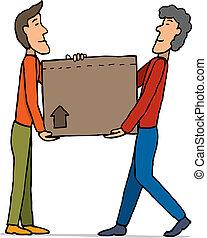 caja, trabajo en equipo, proceso de llevar, mudanza, /
