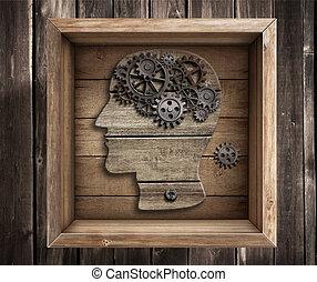 caja, trabajo, pensamiento, concept., cerebro, exterior, creativity.