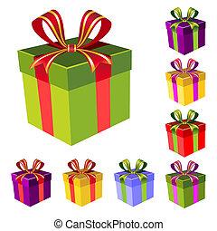 caja, vector, conjunto, regalo