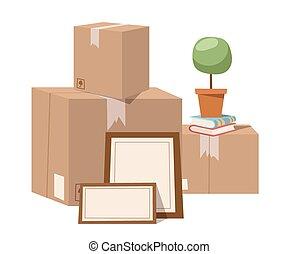 caja, vector, servicio, movimiento, lleno, ilustración