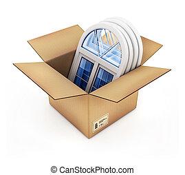 caja, windows, cartón, plástico