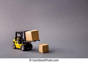 cajas, aislado, entregar, proyecto, start-up, camión, llenar, traer, comercio, transporte, eléctrico, gris, apariencia el plano de fondo, foto, oscuridad, profesional, encima, pastel, pequeño
