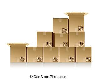 cajas, amontonado arriba