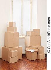 Cajas de cartón, día de mudanza