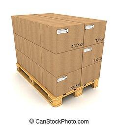 Cajas de cartón de fondo blanco