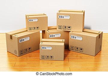 Cajas de cartón en casa nueva