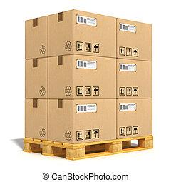 Cajas de cartón en el palé de envío