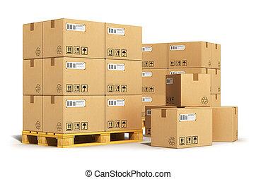 Cajas de cartón en palés
