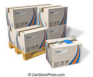 Cajas de cartón en papel
