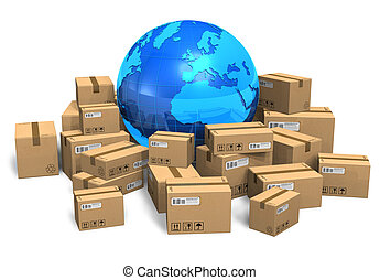 Cajas de cartón y globo terráqueo