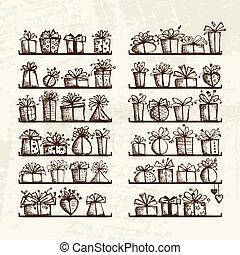Cajas de regalos en estantes, dibujos para su diseño
