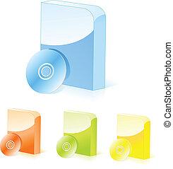 Cajas de software multicolores con CD