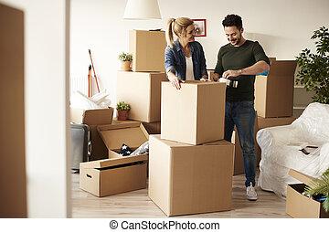 cajas, embalaje, cartón, pareja, abundancia, llenar