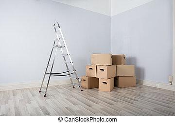 Cajas en casa nueva