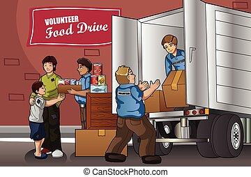 cajas, gente, empaquetar, donación