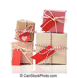 cajas, handcraft, pila, regalo
