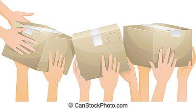 cajas, manos, voluntario