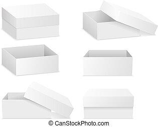 Cajas planas cuadradas aisladas en blanco
